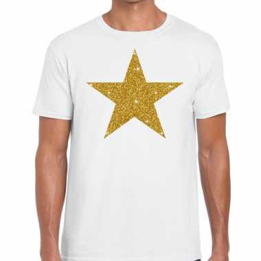 Gouden ster fun t-shirt wit voor heren