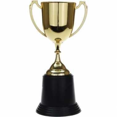 Gouden winnaars beker/cup/bokaal 22 cm met grote oren