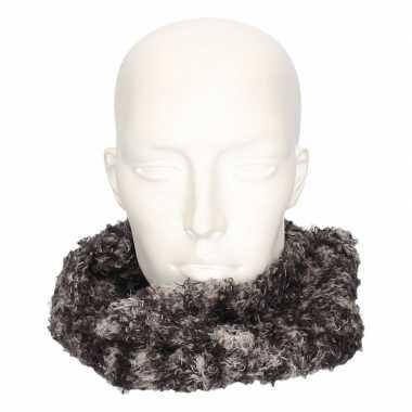 Grijs/luipaard fleece ronde col sjaal voor volwassenen