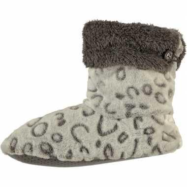 Grijze hoge dames pantoffels/sloffen met luipaardprint en omslag