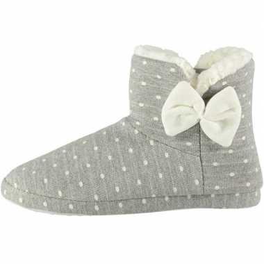 Grijze hoge dames pantoffels/sloffen met stippenprint maat 37-38