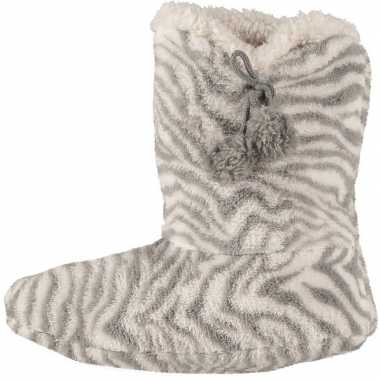 Grijze hoge dames pantoffels/sloffen met zebraprint