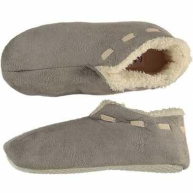Grijze spaanse sloffen/pantoffels stippen voor jongens maat 35-36