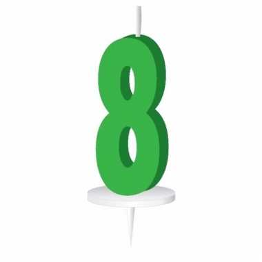 Groen taart kaarsje cijfer 8
