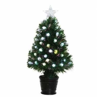 Groene glasvezel kunstkerstboom 60 cm met 59 lampjes