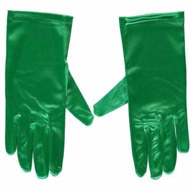 Groene satijnen verkleed handschoenen 20 cm