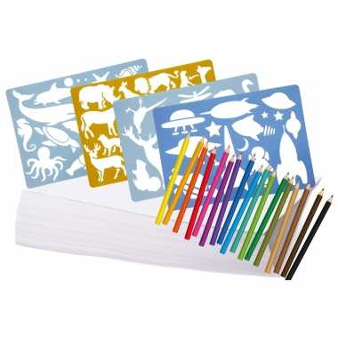 Groot tekenpakket met potloden en sjablonen