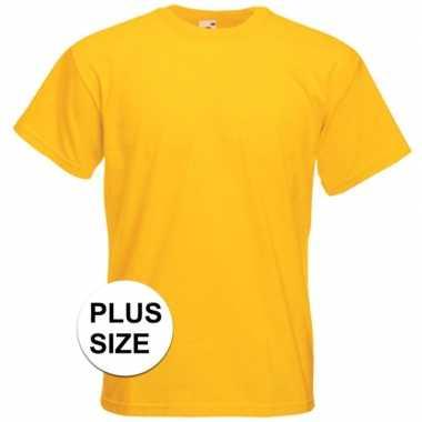 Grote maten basis heren t-shirt geel met ronde hals