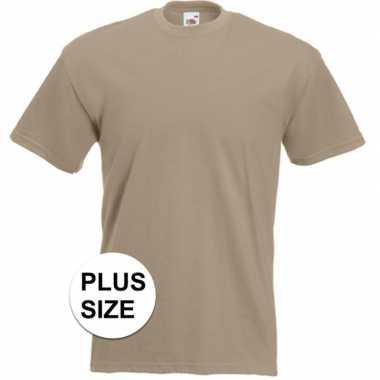 Grote maten basis heren t-shirt kaky beige met ronde hals