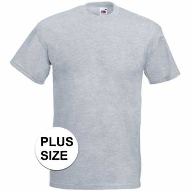 Grote maten basis heren t-shirt licht grijs met ronde hals