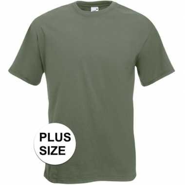 Grote maten basis heren t-shirt olijf groen met ronde hals