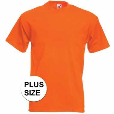 Grote maten basis heren t-shirt oranje met ronde hals