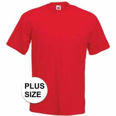 Grote maten basis heren t-shirt rood met ronde hals