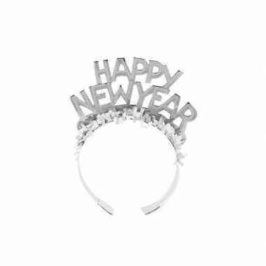 Haarband happy new year zilver voor volwassenen