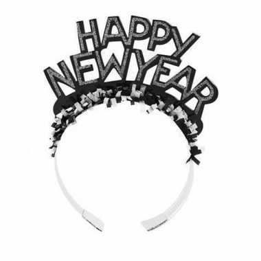 Haarband happy new year zwart voor volwassenen