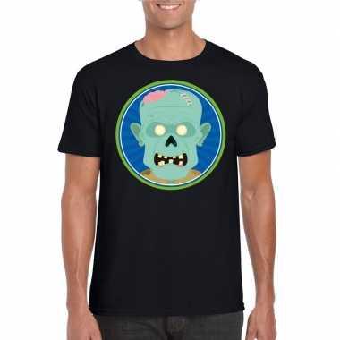 Halloween zombie shirt zwart heren