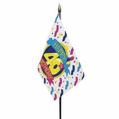 Happy 40th birthday vlaggetje polyester