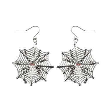 Heksen halloween oorbellen met spinnenweb en spinnen voor dames