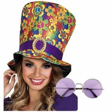 Hippie verkleed accessoires hoed met bril