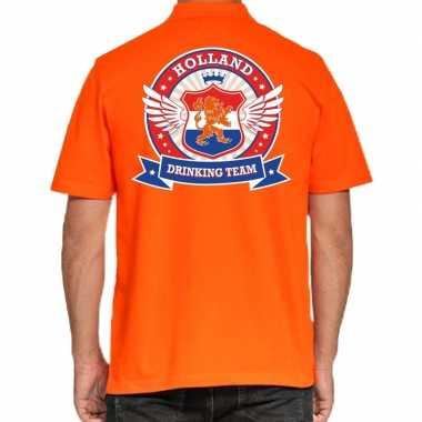 Holland drinking team polo t-shirt oranje met kroon voor heren