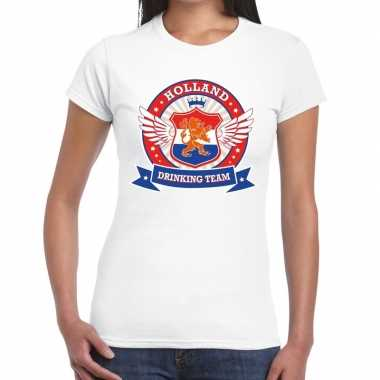 Holland drinking team t-shirt wit dames