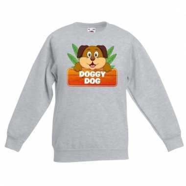 Honden dieren sweater grijs voor kinderen
