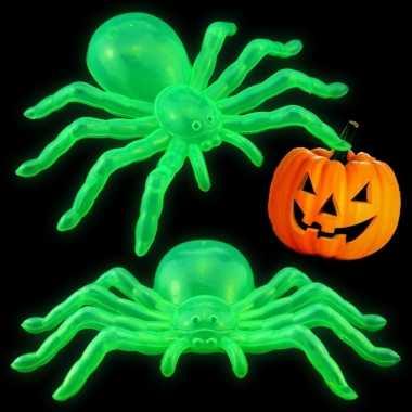 Horror feest versiering glow in the dark spinnen 14 cm 2x
