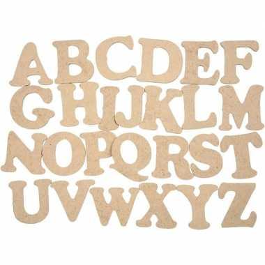 Houten alfabet letters 26 stuks 4 cm