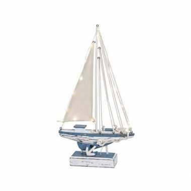 Houten decoratie zeilboot met verlichting 43 cm