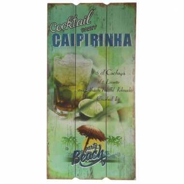 Houten muurplaatje caipirinha cocktail