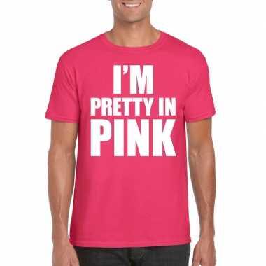 I am pretty in pink shirt roze heren