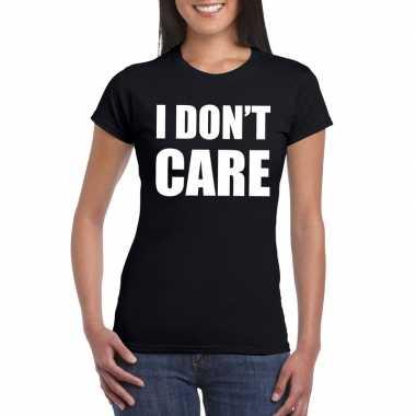 I dont care fun t-shirt zwart voor dames