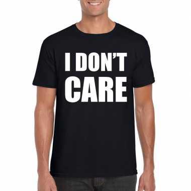 I dont care fun t-shirt zwart voor heren