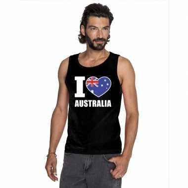 I love australie supporter mouwloos shirt zwart heren