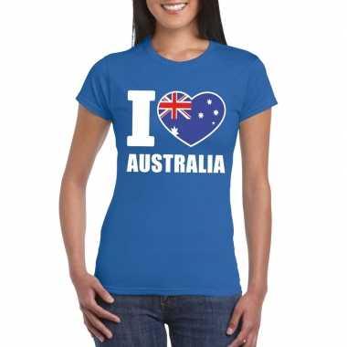 I love australie supporter shirt blauw dames