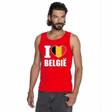 I love belgie supporter mouwloos shirt rood heren