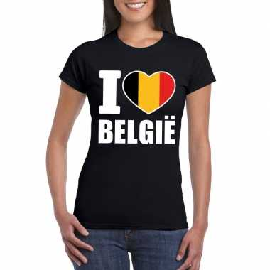 I love belgie supporter shirt zwart dames