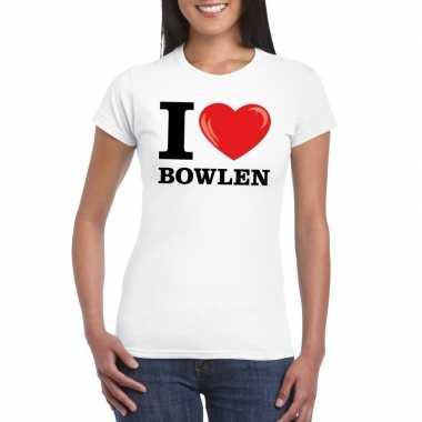 I love bowling t-shirt wit dames