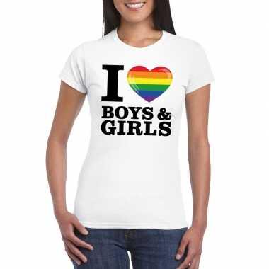 I love boys & girls bi regenboog t-shirt wit dames