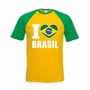 I love brazilie supporter baseball shirt geel/ groen heren
