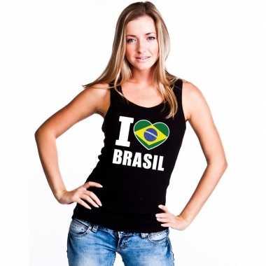 I love brazilie supporter mouwloos shirt zwart dames