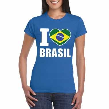 I love brazilie supporter shirt blauw dames