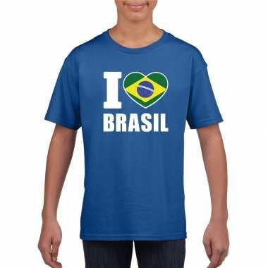 I love brazilie supporter shirt blauw jongens en meisjes