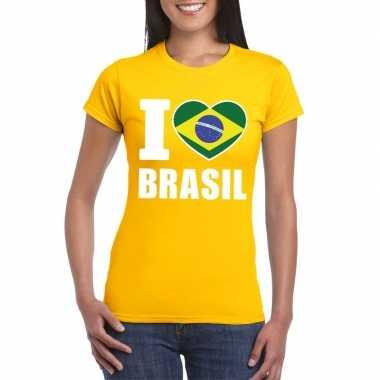 I love brazilie supporter shirt geel dames
