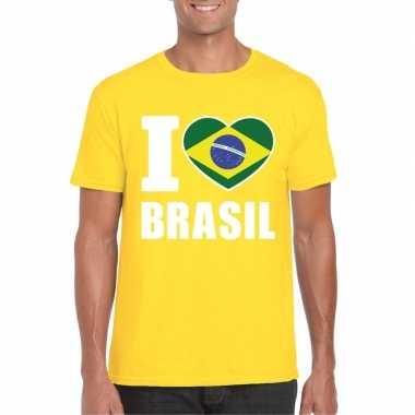 I love brazilie supporter shirt geel heren