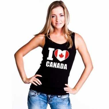 I love canada supporter mouwloos shirt zwart dames