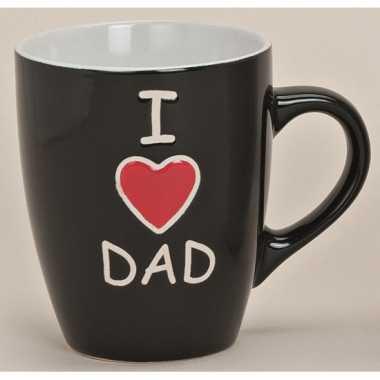 I love dad beker zwart 10 cm