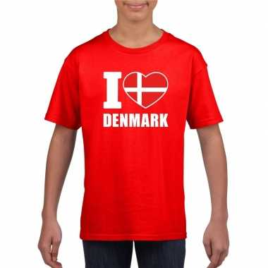 I love denemarken supporter shirt rood jongens en meisjes