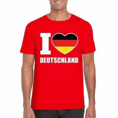 I love deutschland/ duitsland supporter shirt rood heren