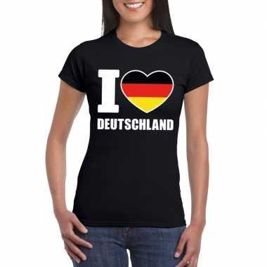 I love deutschland/ duitsland supporter shirt zwart dames